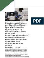 Début des vaccinations aux Etats-Unis, Macron face à la Convention citoyenne, mort de Gérard Houllie