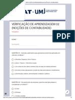 VERIFICAÇÃO DE APRENDIZAGEM 02 (NOÇÕES DE CONTABILIDADE)