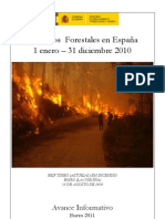 Avance Informativo Incendios Forestales en España 2010