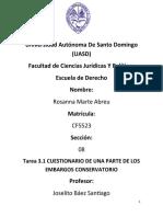 1ER CUESTIONARIO DE UNA PARTE DE LOS EMBARGOS CONSERVATORIO, Rosanna Marte A.