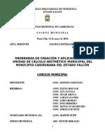 Ordenanza de Creacion y Aplicacion de La Unidad de Calculo Aritmetico Municipal
