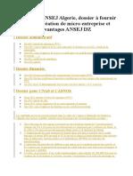 dossier ANSEJ Algerie