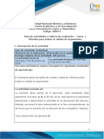 Guia de actividades y Rúbrica de evaluación - Unidad 1 -Tarea 1 - Métodos para probar la validez de argumentos