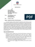 NFL memo on COVID-19 protocol updates