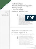 Monnet Chemaa 1994 - Etude Theorique Experimentale Equilibre Elasto Plastique Sol Coherent Autour Pressiometre 73-2