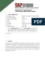 1. SILABO ADMINISTRACIÓN Y GESTIÓN DE LOS SERVICIOS EN SALUD EN LABORATORIO CLÍNICO(12)