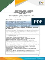 Guia de actividades y rúbrica de evaluación - Tarea 1 - Aproximación a una problemática social.