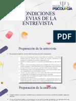 CONDICIONES PREVIAS DE LA ENTREVISTA