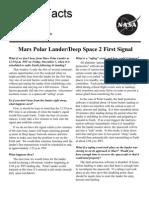 NASA Facts Mars Polar Lander Deep Space 2 First Signal