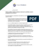 Medidas contra el Covid-19 en Uruguay 16.12.2020