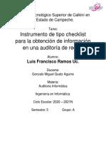 Instrumento Checklist para auditoría de redes