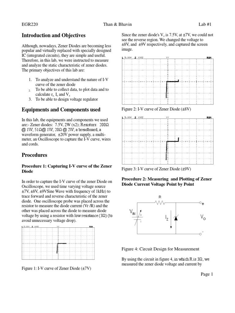 Eletronics Lab Report - Zener Diodes   Diodo   Resistencia eléctrica