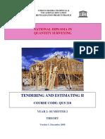 QUS 210 -Tendering & Estimating II