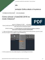 Como colocar o AutoCAD 2016 no modo Clássico_ – Arch e Art Tutoriais