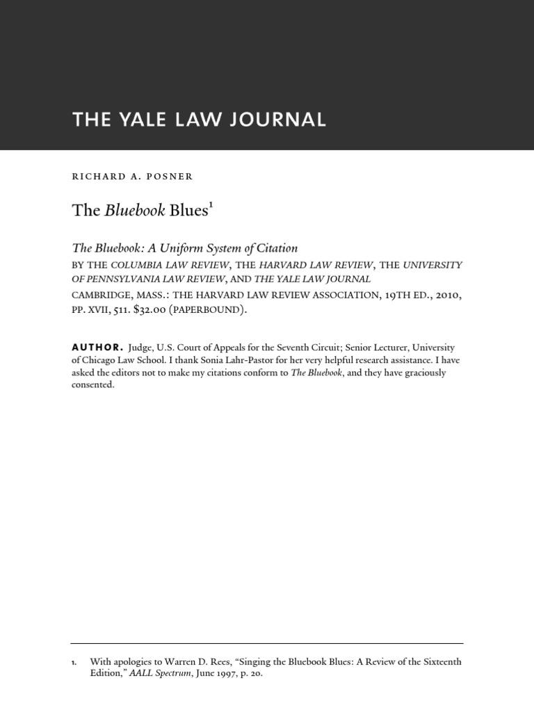 Posner The Blue Book Blues Yale Law Journal Case Citation Law