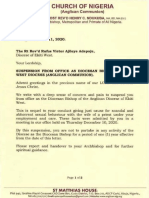 Church of Nigeria Letter of Suspension for Adultry 2020.12.11