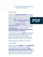 A  REPORT ON THE CAUSES AND AFTER EFFECTS OF RECESSION 2008