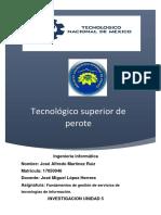 Investigacion unidad 5 Administración de los sistemas de información vs Administración de servicios de TI