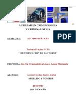 30ª TRAB. PRACT. AUXIL. CRIMINOL. Y CRIMINALIST. - FACTORES DE RIESGOS EN ACCIDENTOL.