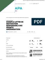 Exemple lettre de motivation _ responsable des projets