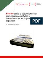 Estudio sobre la seguridad de las comunicaciones móviles e inalámbricas en los hogares españoles. 3er trimestre de 2010