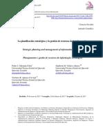 La Planificacion Estrategica y La Gestion De Recursos