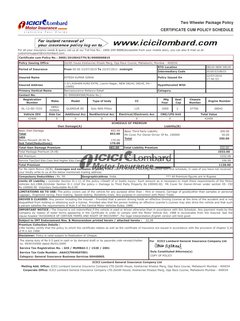 Icici Lombard Two Wheeler Insurance Policy Online Renewal
