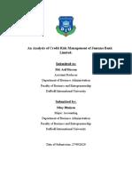 Report On Credit Risk Management on Jamuna Bank