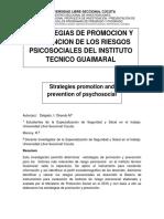 ESTRATEGIAS DE PROMOCION Y PREVENCION DE LOS RIESGOS PSICOSOCIALES DEL INSTITUTO TECNICO GUAIMARAL