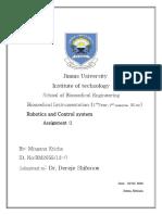 robotics and control system Assignment 1