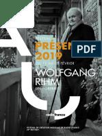 "Festival Présences 2019 ""Wolfgang Rihm"""