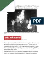 The Psychological Impact of Political Violence in Sri Lanka – Dr Ruwan M Jayatunge M.D..odt