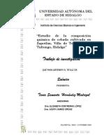 Estudio de la composición química de cebada cultivada en Zapotlan, Villa de Tezontepec y Tultengo, Hidalgo