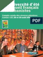 Compte rendu  Séances Plénières 13ème Université d'été Créteil 2008