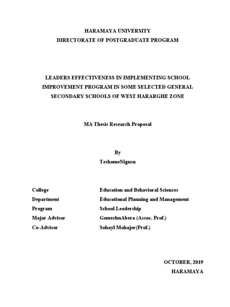 education improvement in management proposal thesis