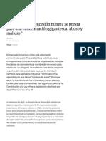 """""""El sistema de concesión minera se presta para una concentración gigantesca, abuso y mal uso"""" – CIPER Chile"""