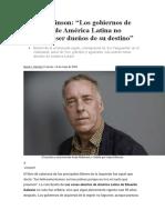 ººAndy Robinson. Los gobiernos de izquierda de América Latina no llegaron a ser dueños de su destino