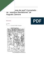 Libertadores de qué A propósito de Malditos libertadores de Augusto Zamora