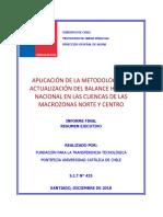 Aplicacion de la metodologia de actualizacion del balance hidrico nacional en las cuencas de las macrozonas norte y centro resumen ejecutivo (1)
