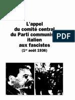 L'appel du comité central du Parti communiste italien aux fascistes (1er août 1936)
