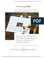solar energy_ Maturing technology and lower price help solar power its way to China's No. 3 electricity source - The Economic Times