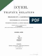 RECUEILLE DES TRAVAUX RELATIFS A LA PHILOLOGIE