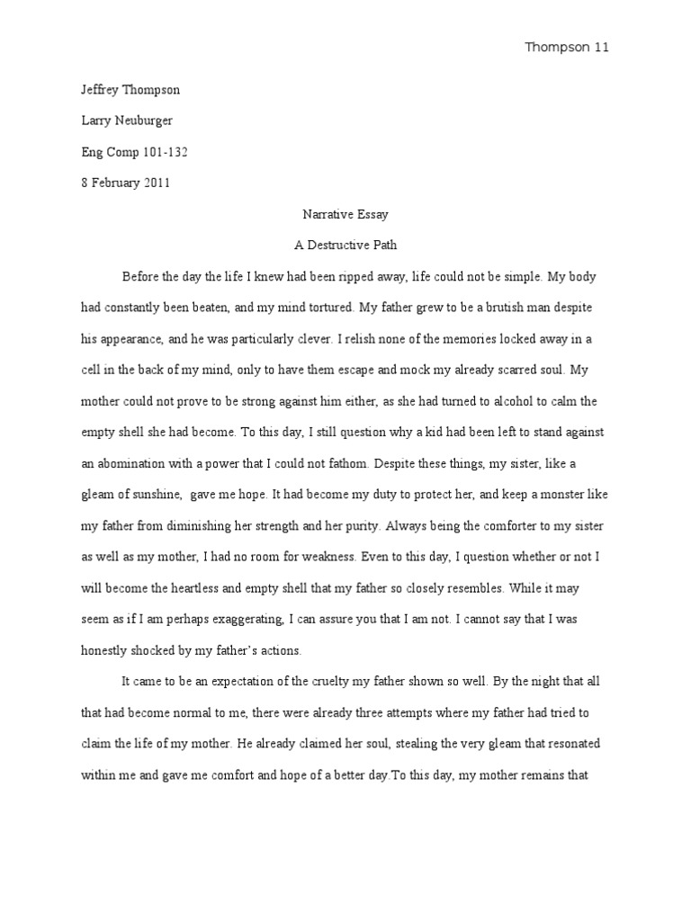 narrative essay one painful night