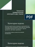 Типология грам. категорий в двух языках