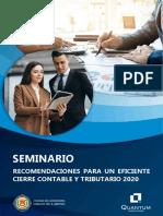 RECOMENDACIONES PARA UN EFICIENTE CIERRE CONTABLE Y TRIBUTARIO 2020