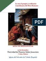 25 de Diciembre. La Natividad Del Señor. Misa de Medianoche. Propio y Ordinario de la santa misa