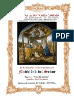 25 de diciembre. Natividad de Nuestro Señor Jesucristo. Misa de Medianoche. Guía de los fieles para la santa misa cantada.  Kyrial Fons Bonitatis y Angelis