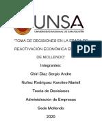 """""""TOMA DE DECISIONES EN LA ETAPA DE REACTIVACIÓN ECONÓMICA EN MYPES DE MOLLENDO"""""""