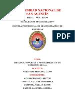 METODOS, PROCESOS Y PROCEDIMIENTOS DE COBRANZA LEGAL