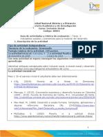 Guia de actividades y Rúbrica de evaluación - Unidad 1 - Tarea 2 - Indicadores sociales y económicos para la medición del desarrollo